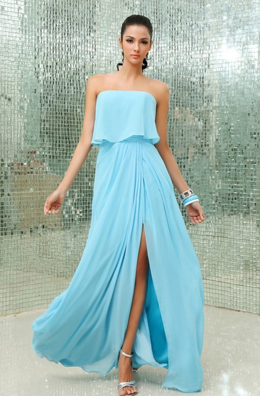 Modern Strapless Chiffon Front Split A-Line Gown