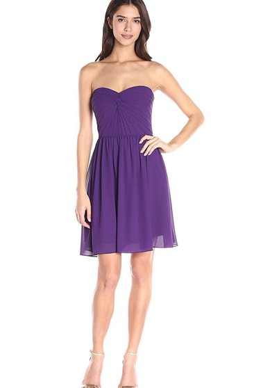 A-line Mini Chiffon Dress with Ruched Bodice