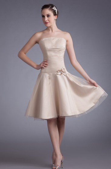 Strapless Knee-Length Dress With Ruched Top