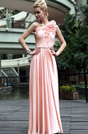 Pink A-line Floor-length One Shoulder Dress