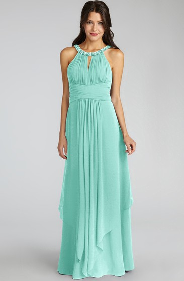 Long-Chiffon Jewel-Neck Unique Dress With Keyhole