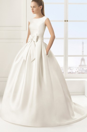 Sleeveless Satin Angelic Ball Gown With Bow Sash
