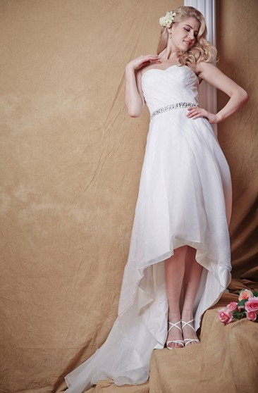 Natural Waist With Sparkling Belt and Hi Low Hemline Modern and Classic Elements