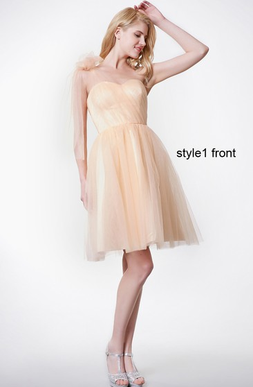 Sleeveless Pleated A-line Short Tulle Dress With Changeable Straps