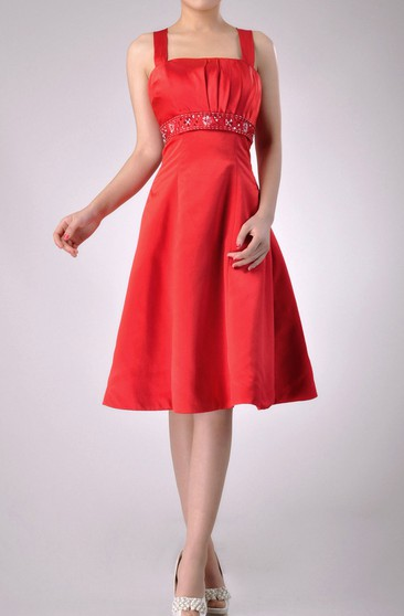 Knee-length Square Empire Satin Bridesmaid Dress With Beaded Belt