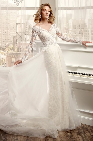Long-Sleeve V-Neck Wedding Dress With Low-V Back And Beaded Waistline