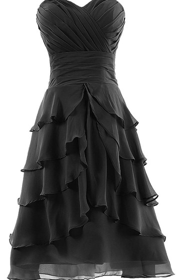 Sweetheart A-line Tiered Chiffon Dress With Pleats