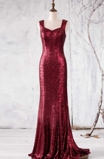 Allover Sequined Sheath Floor Length Dress With Square Back