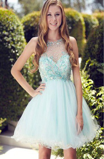 Short Jeweled Neck Sleeveless Pleated Tulle Dress