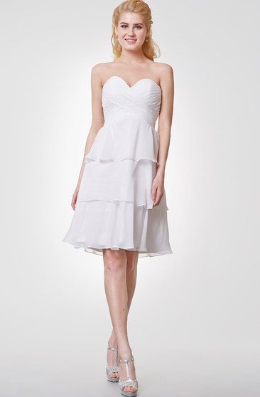 Sweetheart Layered A-line Chiffon Knee Length Dress