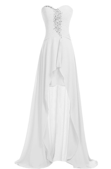 Sweetheart Crystal Stone Long Layered Chiffon Dress