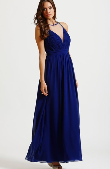 Beading Neckline Long Dress With Back Keyhole
