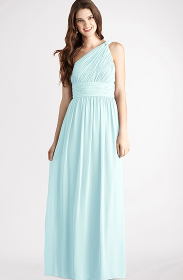 Long-Chiffon Modern One-Shoulder Dress With Ruching