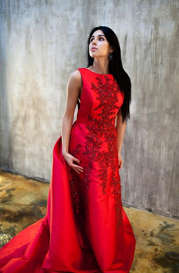 Vintage Red Sleeveless Appliques Evening Dress 2016 Long Train