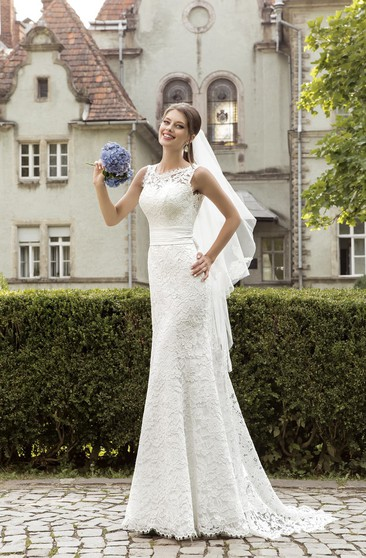 Jeweled Neck Sleeveless Sheath Lace Wedding Dress With Ruched Waist