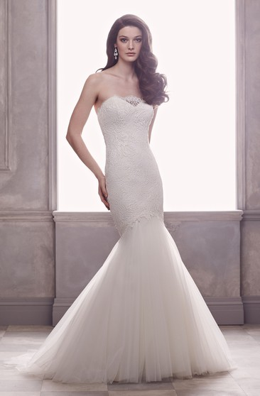 Strapless Mermaid Dress With Chapel Train And Low-V Back