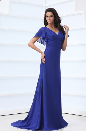 V-Neck Chiffon Floor-Length Dress With Bell-Sleeve