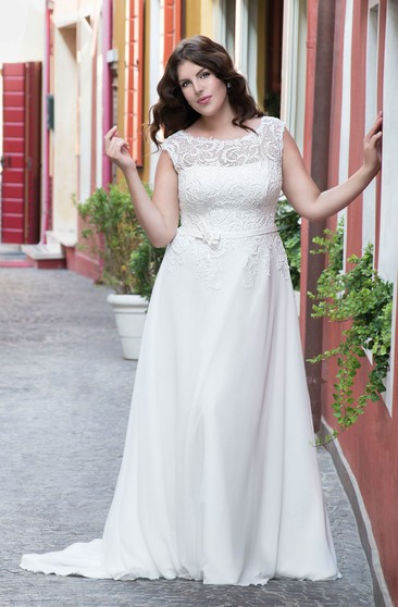 bc178d77874 A-Line Floor-Length Bateau Neck Cap Chiffon Lace Bow Sweep Train Lace Dress