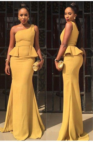 Sexy One Shoulder Mermaid Yellow Prom Dress 2016 Ruffles Sweep Train
