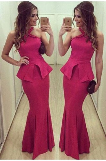 Sexy Halter Mermaid Fuchsia Prom Dress 2018 Sleeveless Floor-length