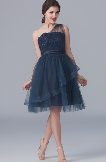 One-shoulder A-line Tulle short Dress With Appliques