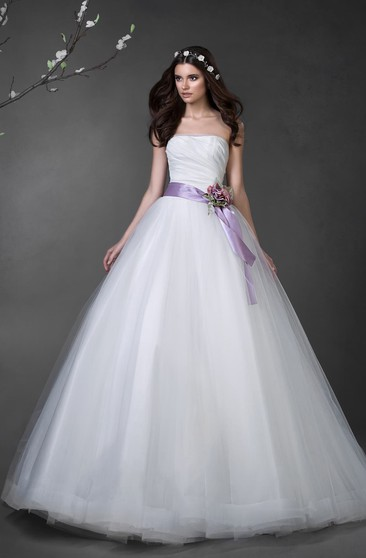 Ball Gown Long Strapless Sleeveless Lace-Up Tulle Dress With Ruching And Flower