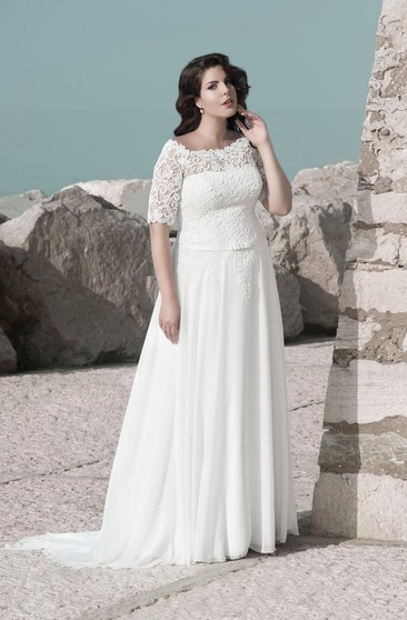 A-Line Floor-Length Scoop Neck Short Sleeve Lace Chiffon Sweep Train Illusion Pleats Dress