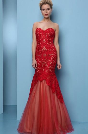 882ed90072c Mermaid Floor-Length Appliqued Sweetheart Sleeveless Tulle Prom Dress