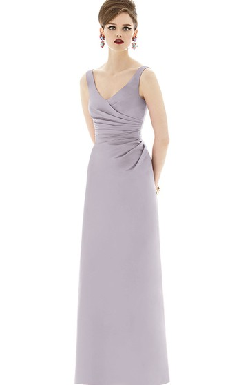 Sheath Long V-Neck Side Ruched Gown with Low-V Back
