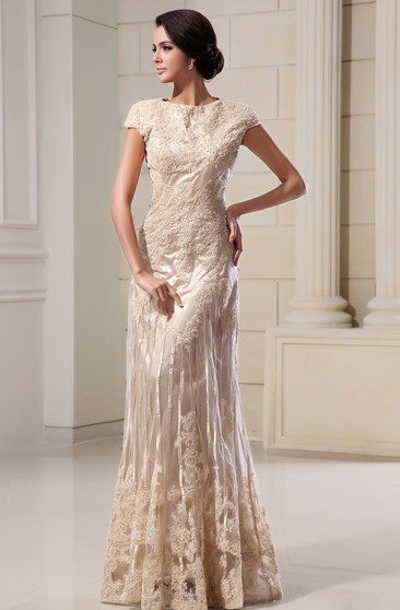 Romantic High-Neck Column Maxi Dress With Lace Appliques