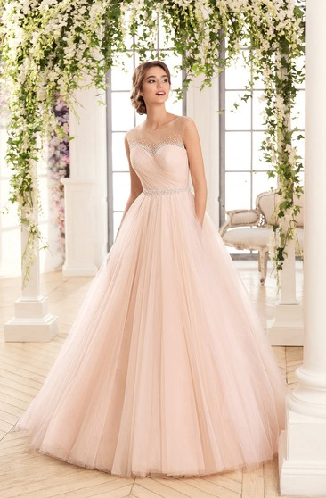 Ball Gown Floor-Length Scoop Sleeveless Keyhole Tulle Dress With Criss Cross And Beading