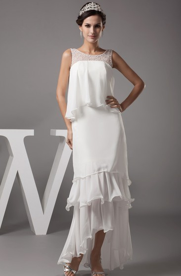 Sleeveless Tiered High-Low Chiffon Dress With Illusion Neckline