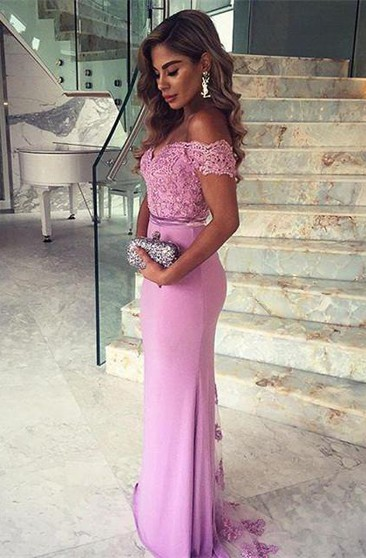 Elegant Lace Appliques Mermaid 2016 Prom Dress Off-the-shoulder Sweep Train