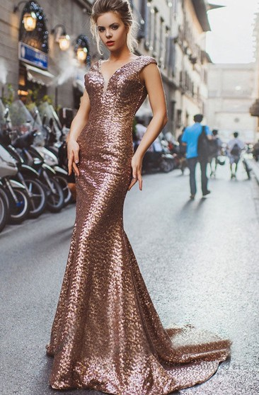 Mermaid Court Train V-Neck Short Sleeve Sequins Pleats Low-V Back Dress