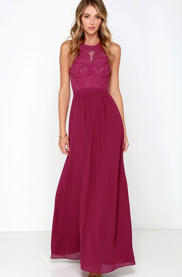 Sleeveless Chiffon Long Noble Dress With Lace Bodice