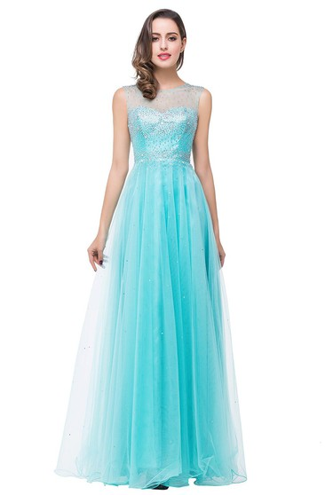Delicate Beadings Illusion A-line 2016 Prom Dress Zipper Floor-length Sleeveless