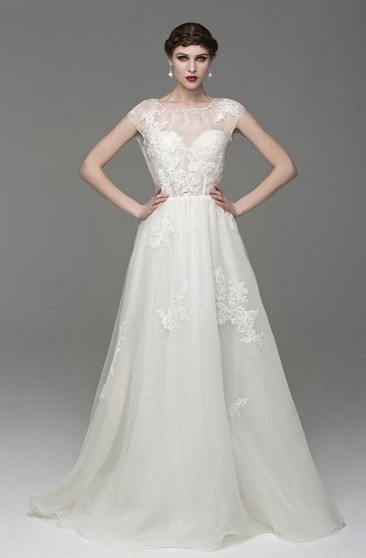 Cap Sleeve A-Line Lace-Appliqued Tulle Dress With Bateau Neck and Keyhole Back
