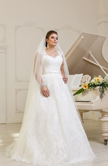 Sleeveless A-line Lace Wedding Dress With Ruching And Beaded Waist