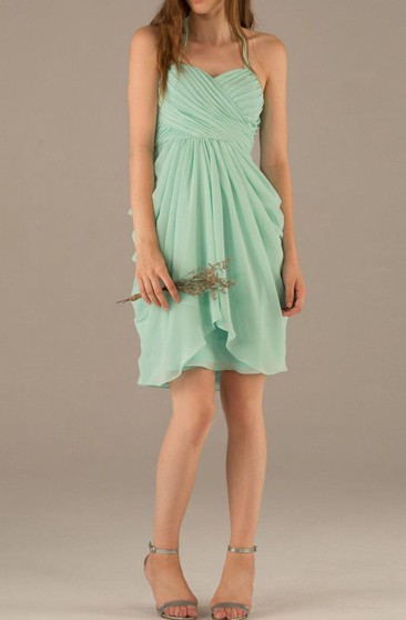 Halter Sweetheart Draped A-line Knee Length Chiffon Dress