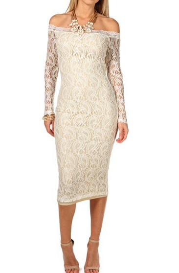 Sexy Sheath Lace Party Dress With Long Sleeve