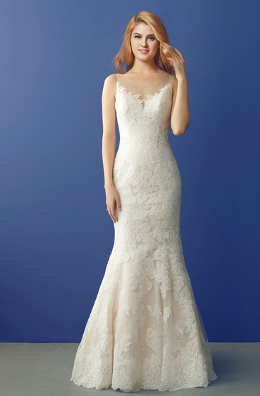 Floor Length Lace Mermaid Wedding Gown