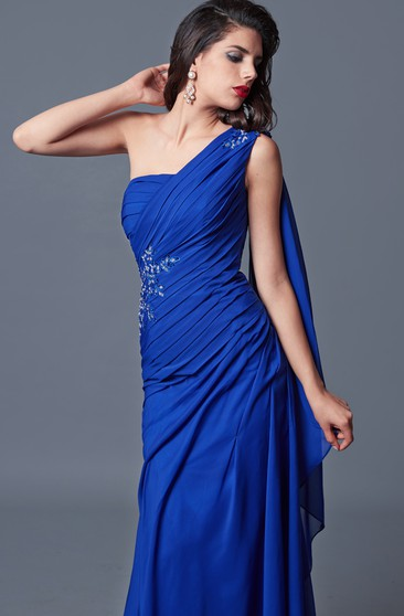 Elegant One-sided Soft-ruched Long Formal Mesh Dress With Shoulder Draping
