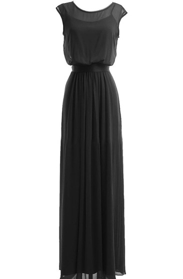 Cap-sleeved Chiffon Gown With Illusion Bodice