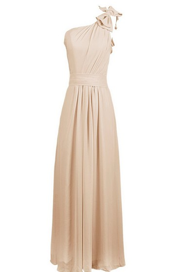 One-shoulder Chiffon Dress With Bow at Shoulder