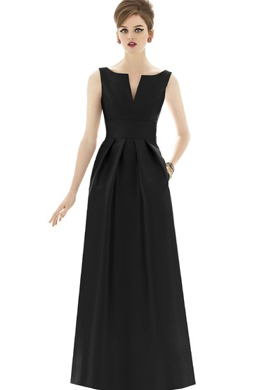 Sex Sleeveless Floor-length Satin Dress With Keyhole Back and Notched Neckline