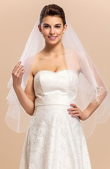 51176fa3820 Lane Bryant Homecoming Dresses (1028). Chic Two-tier Fingertip Wedding Veil  With Beaded Edge