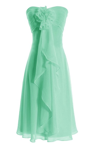 Elegant Ruched Drapped Chiffon A-line Dress With Flowers