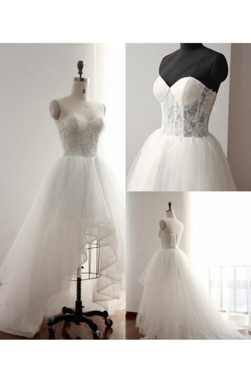 High-Low Sweetheart Backless Tulle Lace Dress