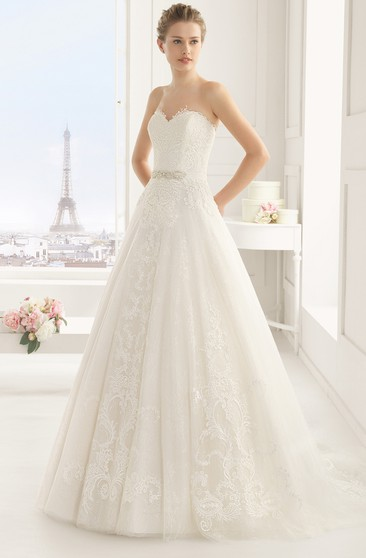 Lovely Gown With Cap-Sleeved Cape And Bead Sash
