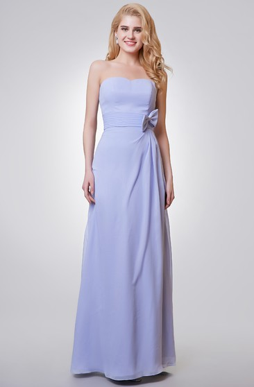 Backless Sweetheart A-line Long Chiffon Dress With Bow